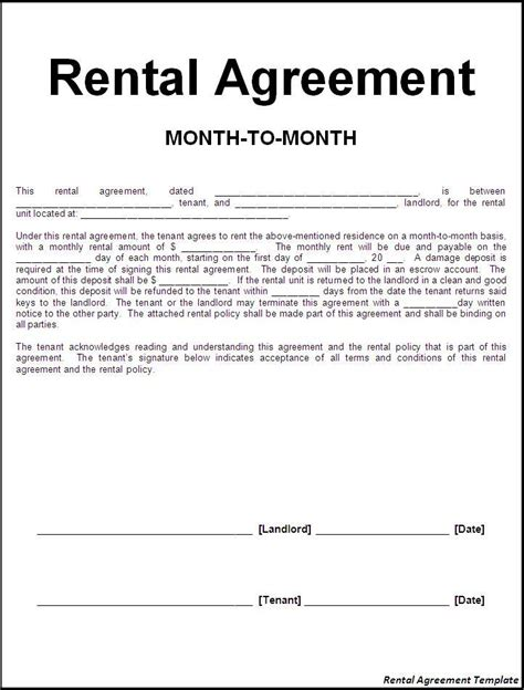free lease agreement template no credit card rental agreement template word excel formats