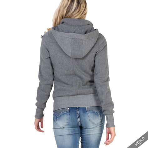 Jaket Zipper Hoodie Sweater Air Abu 7 womens zip duffle jacket fleece jersey toggle blazer coat hoodie ebay