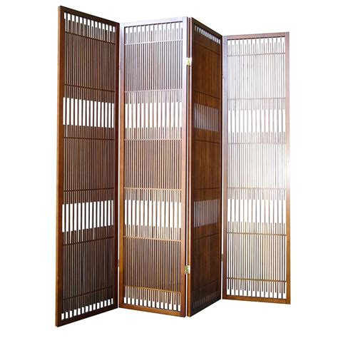 Ore International Walnut 4 Panel Room Divider By Oj Panel Room Dividers