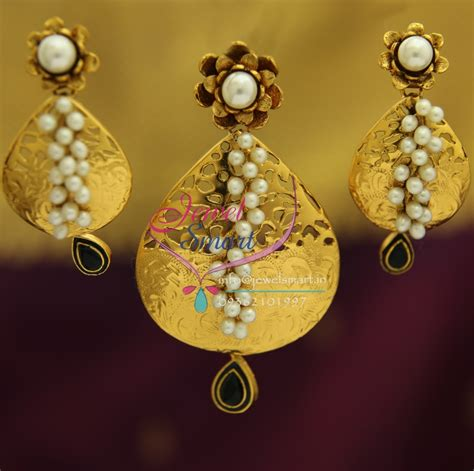 Handmade Gold Jewellery - ps1833 exclusive antique gold design handmade real pearl