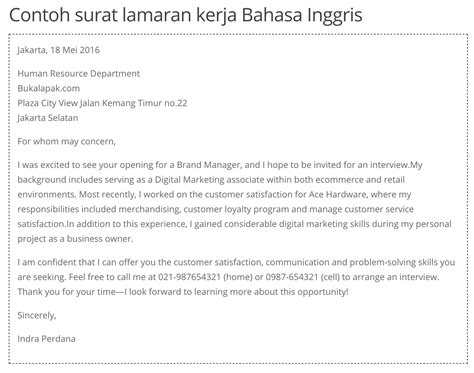 application letter contoh bahasa indonesia perbedaan resume cover letter dan curriculum vitae