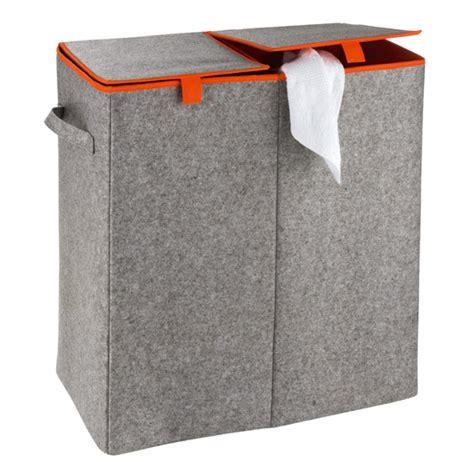 laundry uk wenko duo felt laundry basket grey orange 3440402100