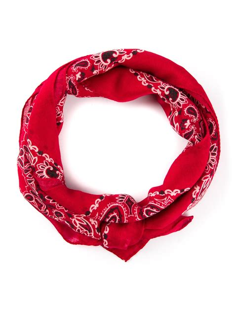 laurent printed bandana scarf in lyst