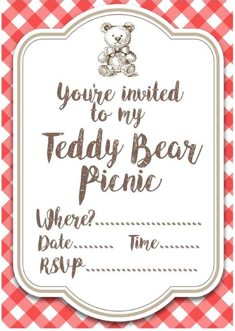 picnic invitation template free printable teddy picnic invites teddy