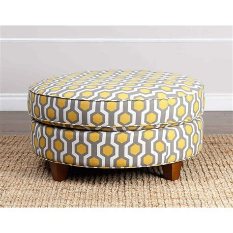 yellow ottoman rory pattern fabric round ottoman in yellow br ot j014 ypat