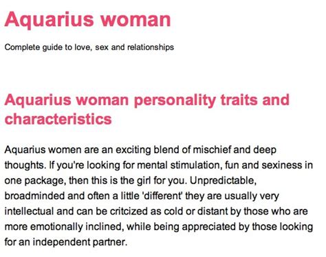 aquarius woman personality traits and characteristics