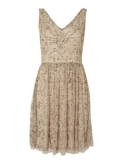 taupe beaded dress papell all beaded dress in beige taupe lyst