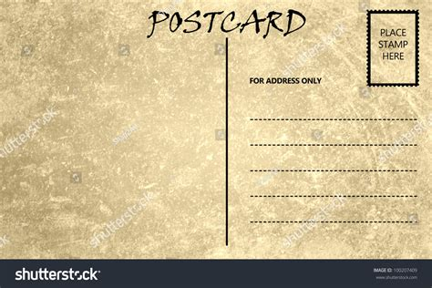 postcard printable area vintage stained postcard template with copy area stock