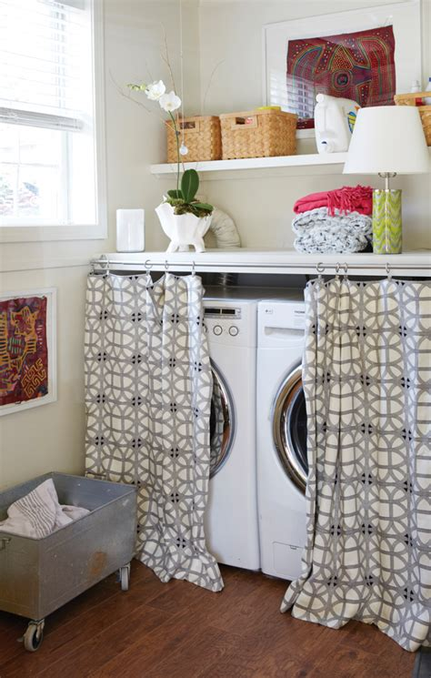curtains to hide washer and dryer using a shelf curtain rods to hide unsightly objects