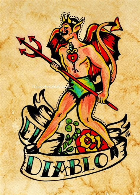 old school zelda tattoo old school tattoo diable art el diablo loteria impression 5 x
