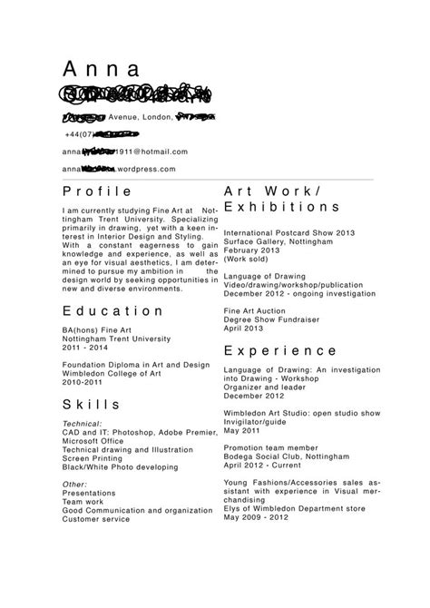 Artist Resume Exles Sles 32 Best Images About Artist Cv S On Infographic Resume Creative Resume And Fashion Cv