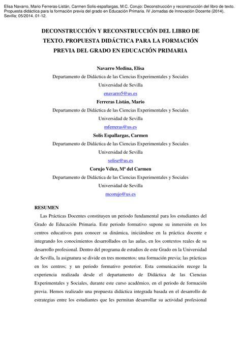 pdf libro de texto una propuesta sospechosa suspicious deconstrucci 243 n y reconstrucci 243 n del libro de texto propuesta did 225 ctica para la formaci 243 n previa
