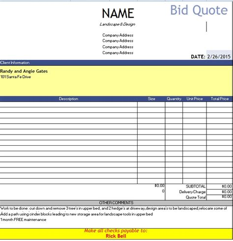 bid quote template microsoft word quotes quotesgram