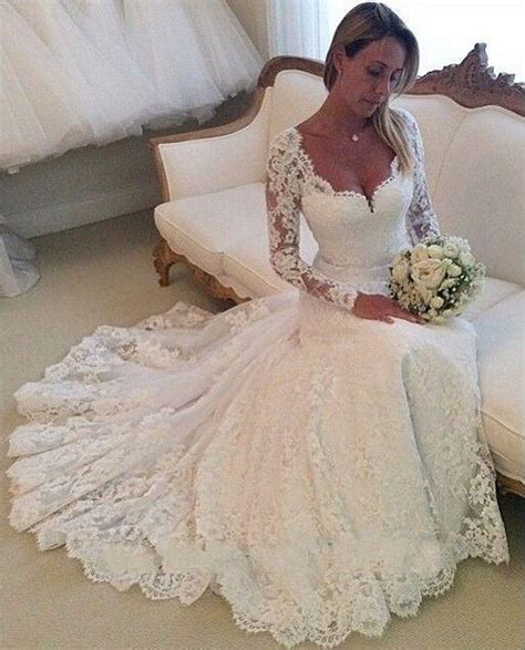 lace wedding dresses long sleeves mermaid wedding