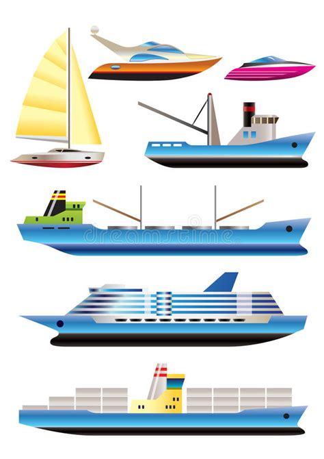 type of boat or ship different types of boat and ship icons stock vector