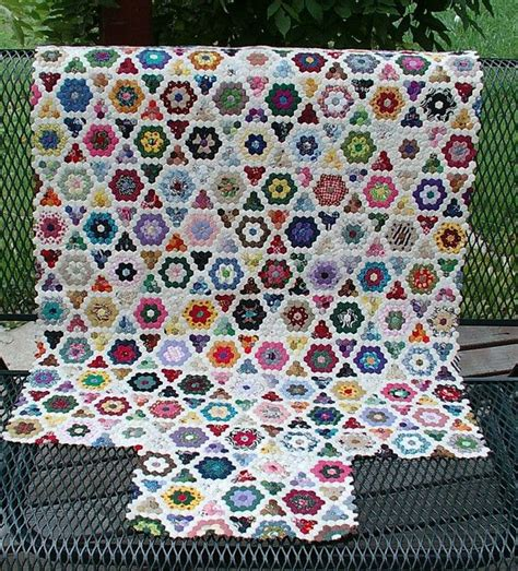 hexagonal 9inchx 3inch whitefriars blue mini hex quilt quilts n some sewing just wow i not made these looking at them