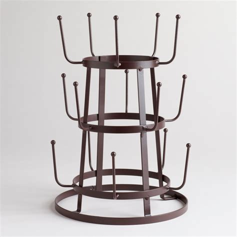 wire 3 tier glass drying rack dish