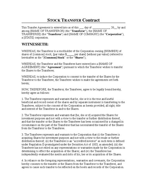 Stock Transfer Contract Template Hashdoc Stock Transfer Agreement Template