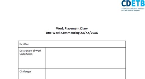 work journal template work placement diary template skills4work project