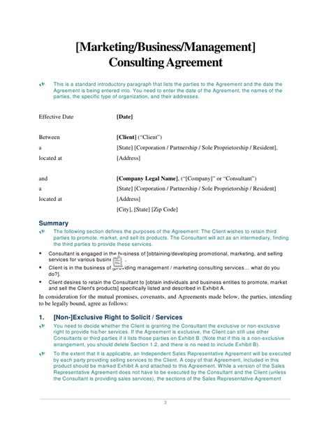 marketing consultant contract template marketing business management consulting agreement