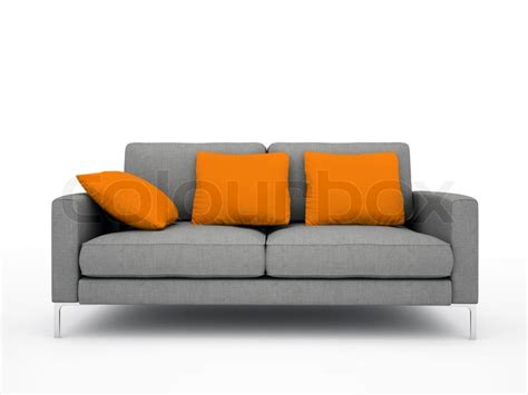 white and grey sofa modern grey sofa with orange pillows isolated on white