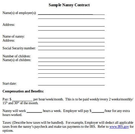 nanny contract template word contract sle in word 12 exles in word