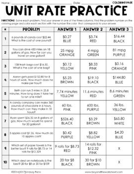 unit rate coloring page unit rate activity by lindsay perro teachers pay teachers