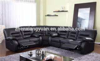 new style black leather recliner corner sofa set with