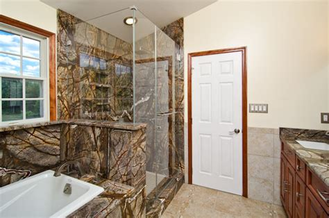 rainforest bathroom rainforest brown granite vanity tub surround and shower