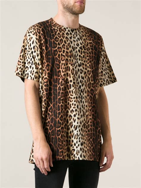 Leopard Print T Shirt Mens by Moschino Leopard Print T Shirt In Brown For Lyst