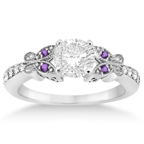 butterfly amethyst engagement ring 14k white