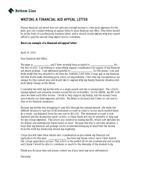 Financial Aid Appeal Letter Tips Bottom Line Writing A Financial Aid Appeal Letter