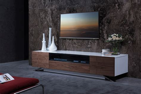 room tv stand modrest gillian contemporary white walnut tv stand entertainment centers living room
