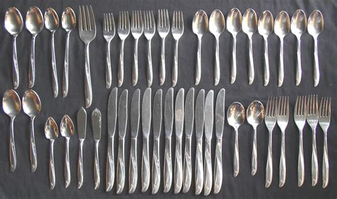 silverware rubber st oneida pattern stainless flatware 43 pcs