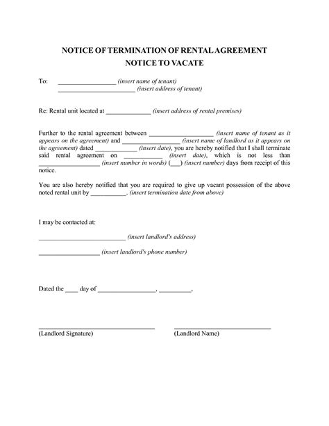 sle termination of lease letter from landlord to tenant