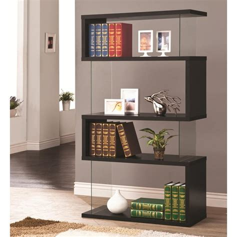 izzy backless bookcase in black glass simply