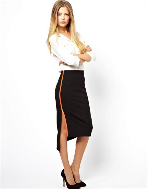asos pencil skirt with neon binding side split in black lyst