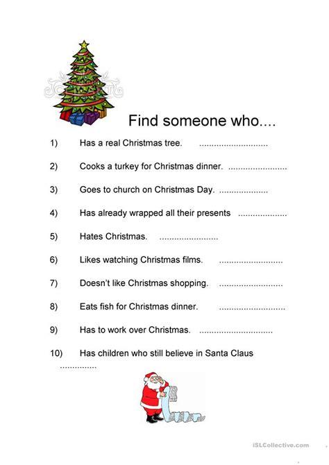printable christmas icebreakers find someone who christmas worksheet free esl