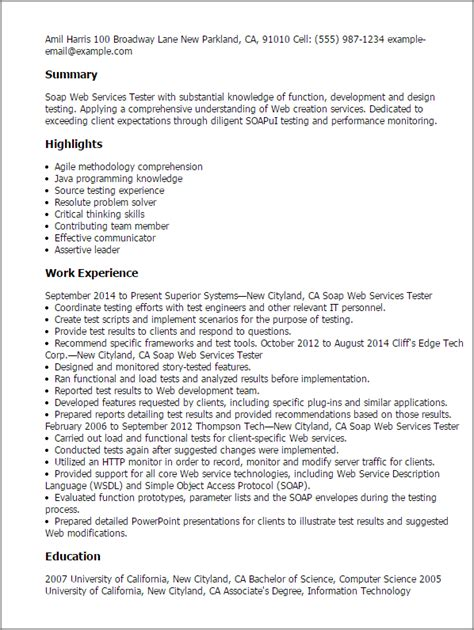 Web Services Tester Cover Letter by Professional Soap Web Services Tester Templates To Showcase Your Talent Myperfectresume