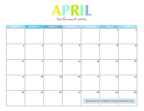 April 2016 Calendar Printable Free Printable Your Lovely 2016 Calendars