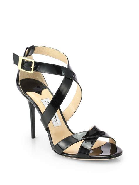 jimmy choo sandals jimmy choo lottie patent leather crisscross sandals in