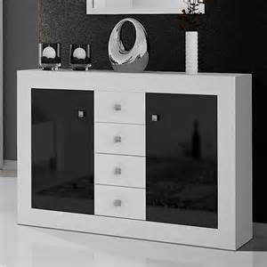 commode design blanc et noir laqu 2 portes 3 tiroirs