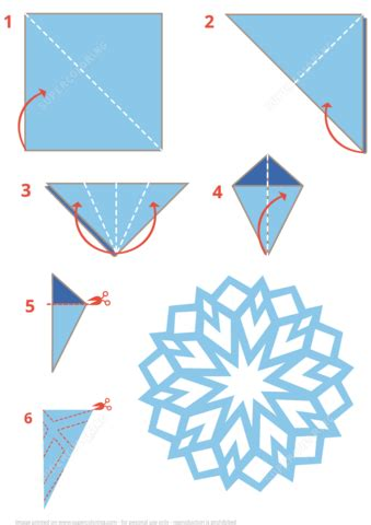 Step By Step How To Make Paper Snowflakes - origami snowflake free printable papercraft