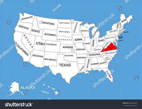virginia on a map of the usa virginia state usa vector map isolated stock vector