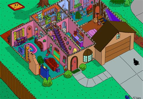 simpsons house simpson s house cutaway first floor by ajdelong on deviantart