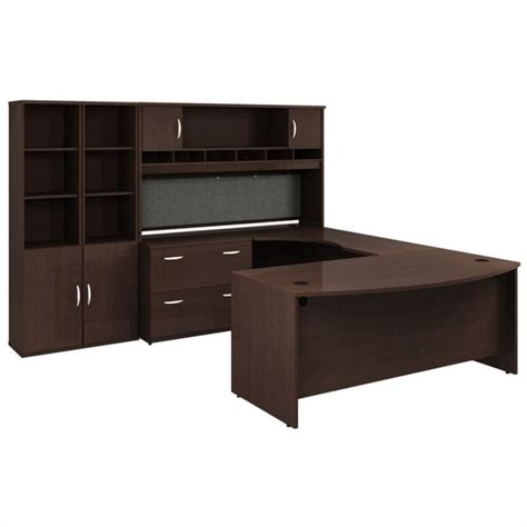 C Shaped Desk Bush Bbf Series C Mocha Cherry Executive U Shaped Desk Bsc039 129