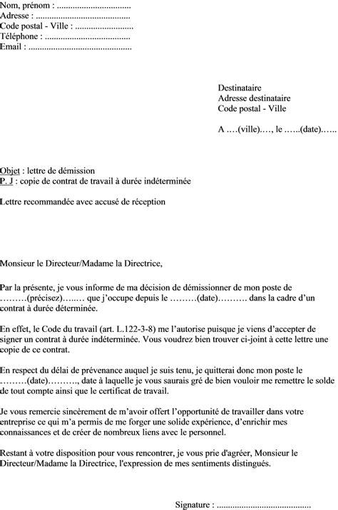 Exemple De Lettre De Demission Fin De Periode D Essai Modele Lettre Fin Contrat Cdd