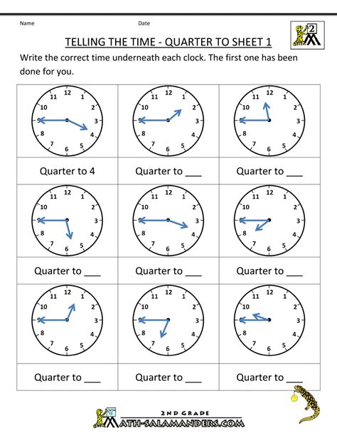 clock worksheets quarter past and quarter to