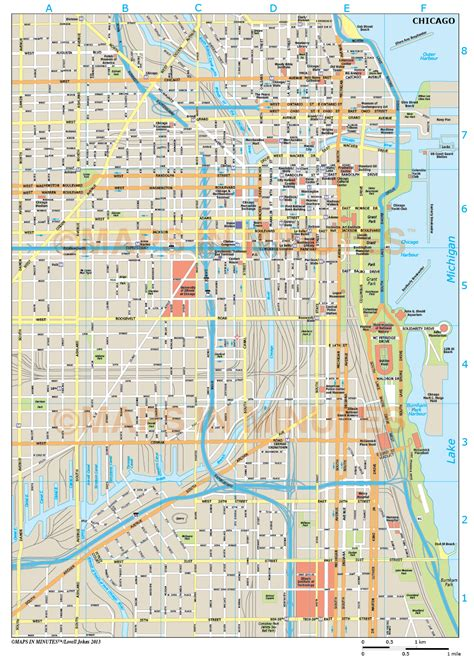 chicago map illustration chicago city map