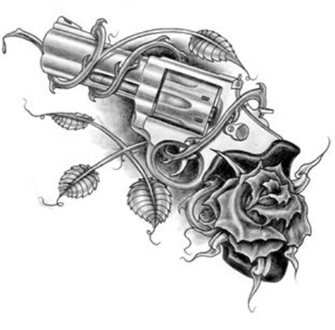 tattoo gun ends revolver with rose tattoo design tattoos pinterest